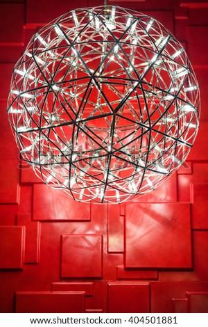 lamp metal ceiling light fixture - stock photo