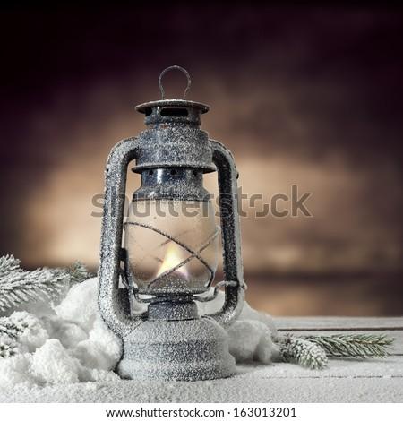 lamp of xmas light in dark interior   - stock photo