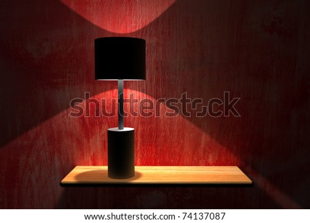 lamp on shelf. interior room