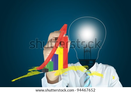 Lamp or Light Bulb Head Male Writing 3d graph On Touch Screen