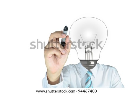 Lamp or Light Bulb Head Male Writing On Touch Screen - stock photo