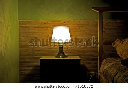 Lamp photo in a sleeping room