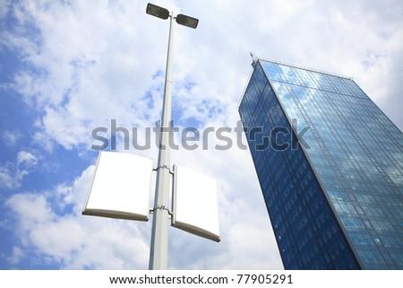 lamp post advertising - stock photo