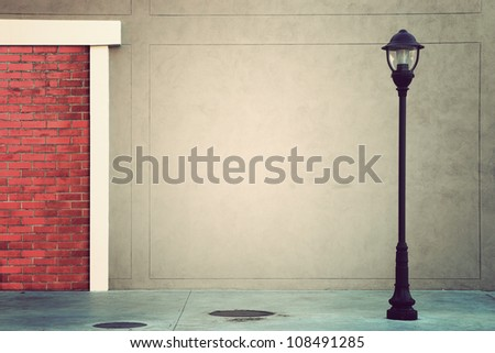 Lamp Post Lamppost Street Road on ventage background - stock photo