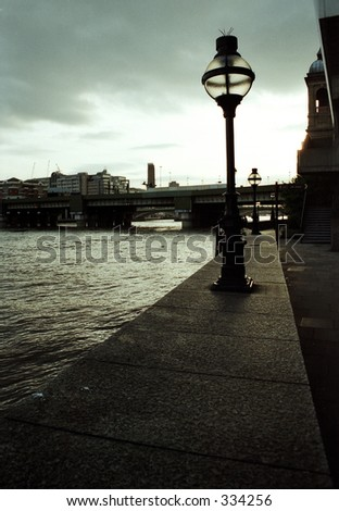 lamp post on river - stock photo