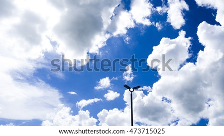 Lamp post on sky and clouds.
