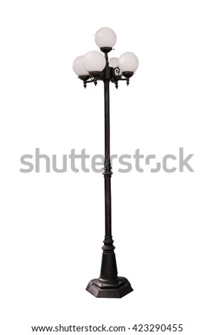 Lamp Post Street Road Light Pole on white background - stock photo