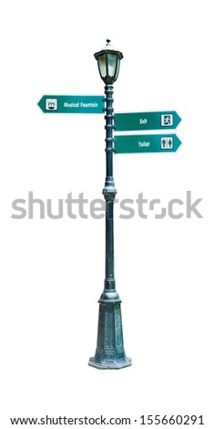 Lamp Post Street Road Light Pole with sign - stock photo