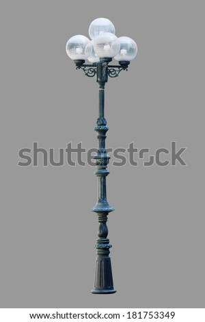Lamp posts isolated on gray background