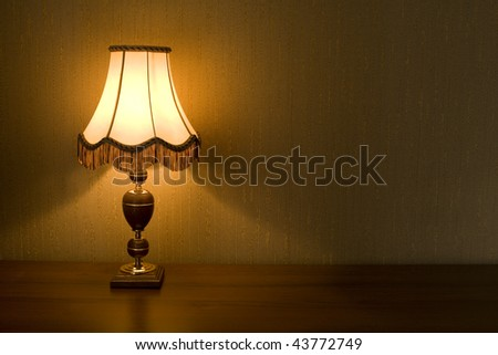 Lamp Shade in a domestic interior on a background of wallpaper.