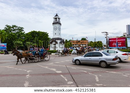 Lampang, Thailand  -  February 2,  2015 :  Landau Lampang. Lampang is the only province in Thailand  that still use horse-drawn carriage ride to the city. Within the city, it is a tourist attraction.