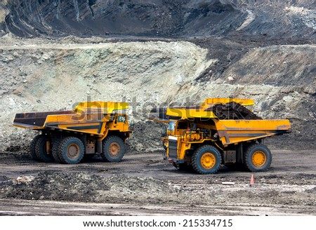 LAMPANG, THAILAND - JUNE 26: coal-preparation plant. Big yellow mining truck at work site coal transportation, June, 26, 2014 in Lampang, Thailand - stock photo