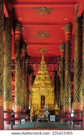 LAMPANG , THAILAND - NOVEMBER 20, 2014: Amazing architecture of Wat Phra That Lampang Luang Temple. It is enshrined relics of the Buddha in Lampang, Thailand, November 20, 2014.