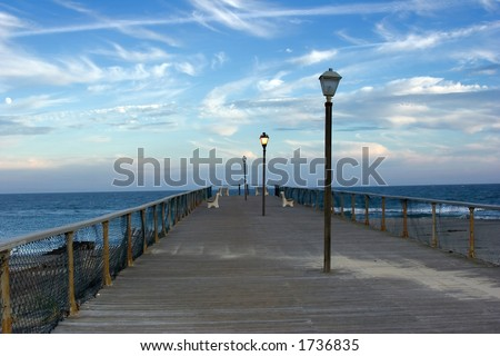 Lamplit Pier, Asbury Park, New Jersey - stock photo