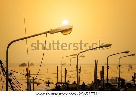Lamppost at Sunset - stock photo