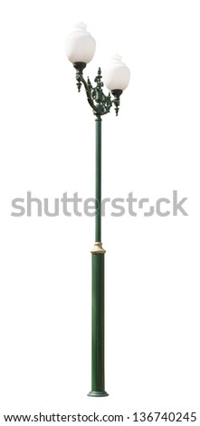 lamppost. Electric street light. Isolated on white background. Green electric pole with two lamps and curlicues