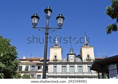 Lamppost in front of the Town Hall in Plaza Mayor, Segovia, Spain - stock photo
