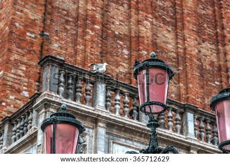 lamppost in San Marco square, Venice - stock photo