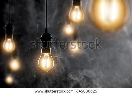 Lamps and dark space background
