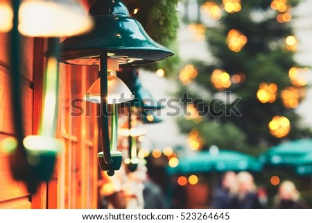 Lamps in traditional christmas market, Vienna, Austria