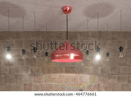 Lamps on rock bricks background