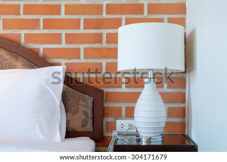 Lamps on the headboard - stock photo