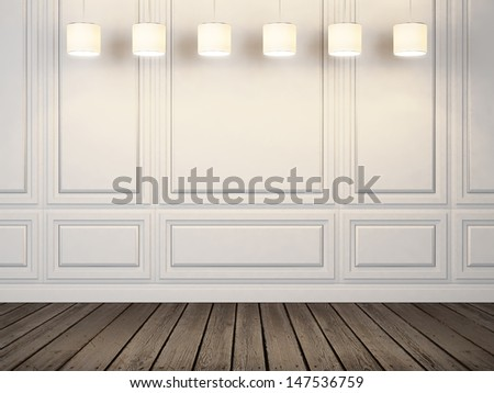 lamps on the white wall - stock photo