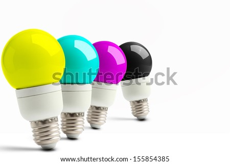 Lamps with CMYK colors - stock photo