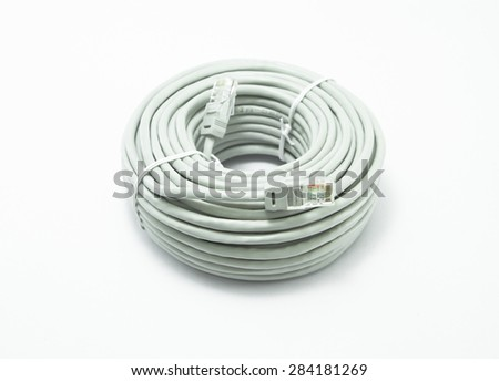 LAN cable network on white background