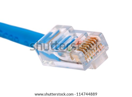 LAN connector isolated on white - stock photo
