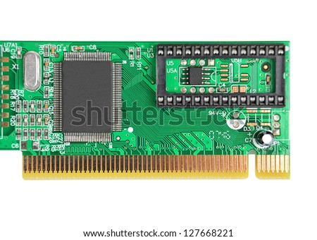 LAN network card for computer, isolated on white background - stock photo
