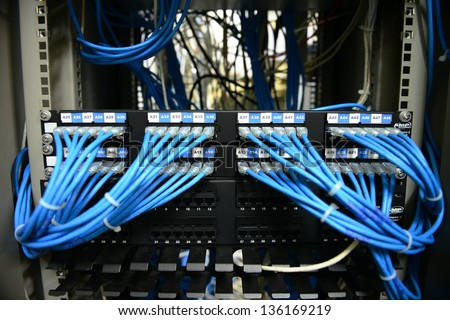 LAN patch cord and LAN Management - stock photo