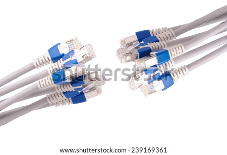 lan telecommunication cable RJ45 isolated on white background - stock photo