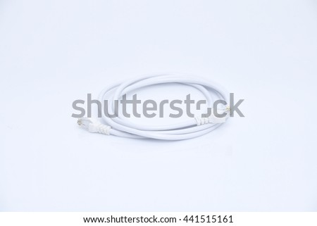 LAN Wire Cable Computer, Cable connect on white background - stock photo