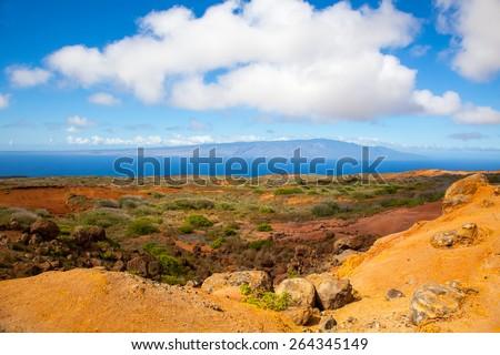 Lanai, Hawaii.  Garden of the Gods.  Red rocks and blue sky.   - stock photo