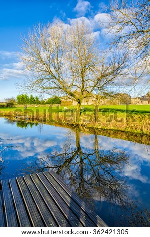 Lancaster Canal near Crooklands, Cumbria - stock photo