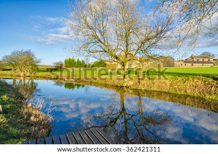 Lancaster Canal near Crooklands, Cumbria - stock photo