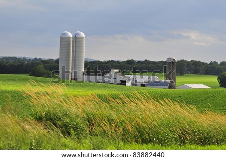 Lancaster County farm view on a cloudy day in rural Pennsylvania - stock photo