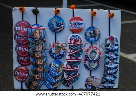 Lancaster, PA - August 9, 2016: Campaign buttons for sale at a rally during GOP Vice Presidential candidate Gov. Mike Pence appearance in Lancaster County.