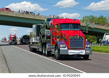 LANCASTER, PA - MAY 8, 2016: Make-A-Wish Foundation sets a new Guinness World Record for the largest truck convoy.Truckers grant a Lancaster County ride to children with life-threatening illnesses.