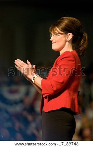Lancaster, PA - Sarah Palin - Vice Presidential Hopeful, Governor Sarah Palin (R-AL), speaks to a crowd of thousands at a campaign rally for John McCain in Lancaster, PA. September 9, 2008 - stock photo