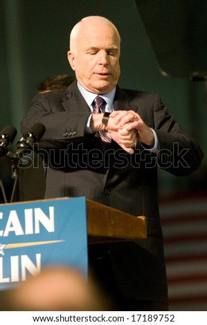 Lancaster, PA - SEPTEMBER 9: John McCain - Presidential Hopeful, Senator John McCain (R-AZ), speaks to a crowd of thousands at a campaign rally in Lancaster, PA. September 9, 2008 - stock photo