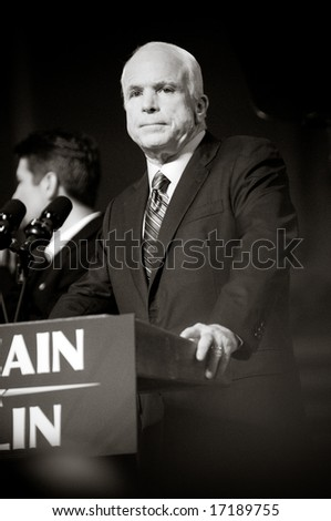 Lancaster, PA - SEPTEMBER 9: John McCain - Presidential Hopeful, Senator John McCain (R-AZ), speaks to a crowd of thousands at a campaign rally in Lancaster, PA. September 9, 2008