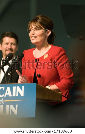 Lancaster, PA - SEPTEMBER9: Sarah Palin - Vice Presidential Hopeful, Governor Sarah Palin (R-AL), speaks to a crowd of thousands at a campaign rally for John McCain in Lancaster, PA. September 9, 2008 - stock photo