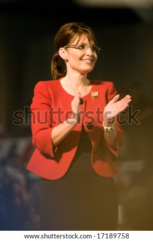 Lancaster, PA - SEPTEMBER 9: Sarah Palin - Vice Presidential Hopeful, Governor Sarah Palin (R-AL), speaks to a crowd of thousands at a campaign rally for John McCain in Lancaster, PA. September 9, 2008 - stock photo