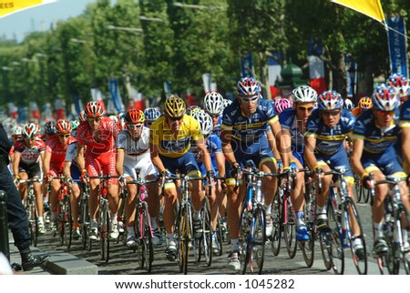 Lance Armstrong and his US Postal Team - Paris - 2004 Tour de France - stock photo