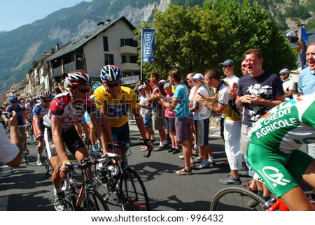 Lance Armstrong and Ivan Basso on the Bourg D'Oisans stage of the 2004 Tour de France - stock photo