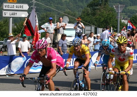 Lance Armstrong and Jan Ullrich in 2005 Tour de France passing through St. Lary-Soulan - stock photo