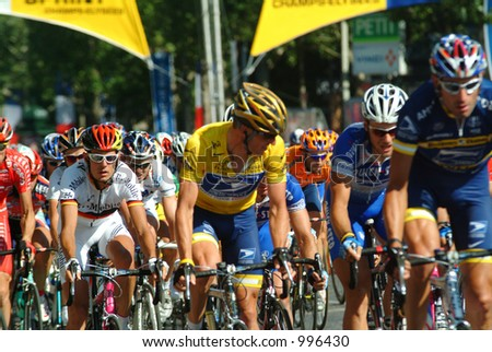 Lance Armstrong on Champs Elysees in Paris 2004 - stock photo