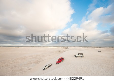 LANCELIN, AUSTRALIA - JANUARY 9, 2016: Dune driving at the Lancelin sand dunes near Perth in Western Australia